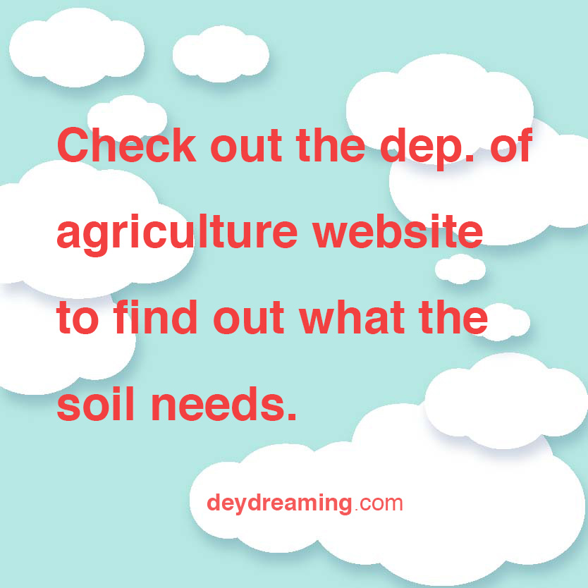 deydreaming cloud thought: Check out the dep of agriculture website to find out what the soil needs