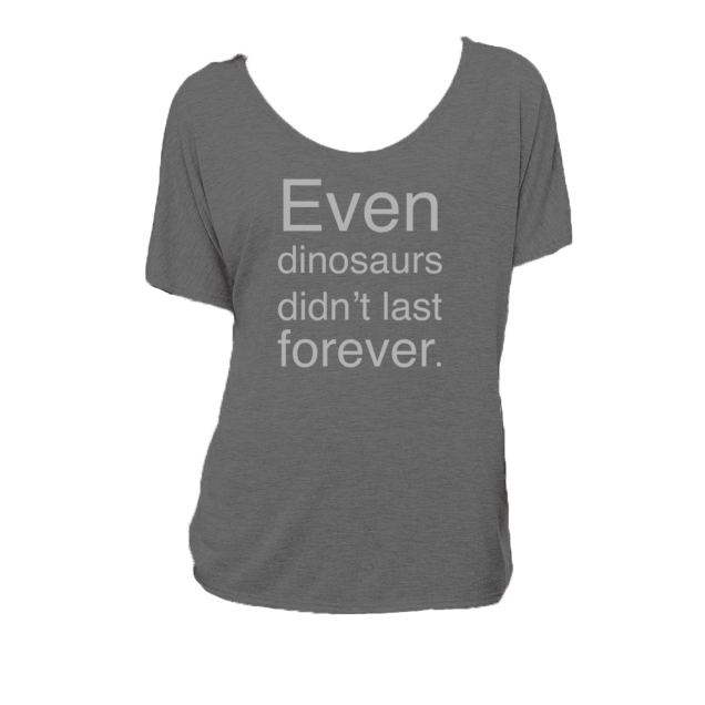 Even_dinosaurs_didnt_last_forever--bella-canvas--deydreaming tshirt