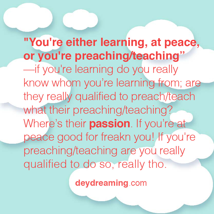 Youre either learning